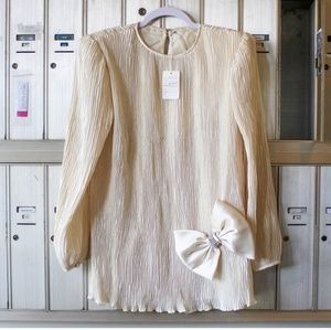 S Vintage Cream Puff Sleeve Mini Dress Bow Shiney